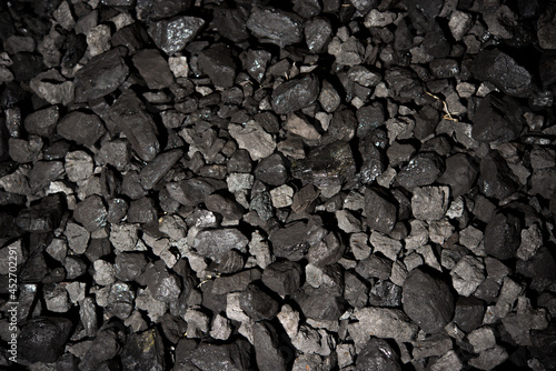 Canvas Top view of a coal mine mineral black for background