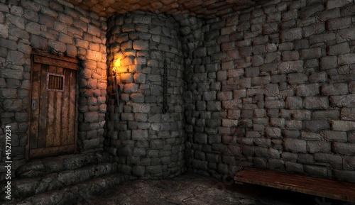 Canvastavla Fantasy medieval dungeon architecture construction 3d illustration