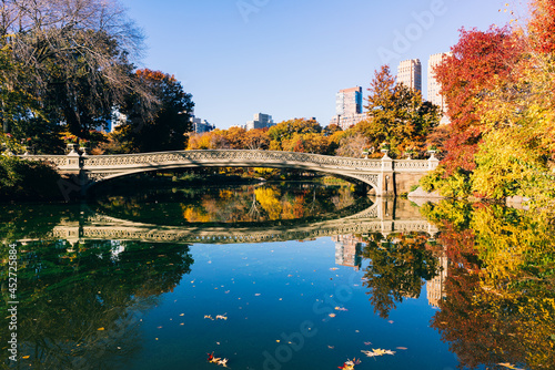 Central Park - New York City panoramic at the bow bridge in the early morning Fotobehang