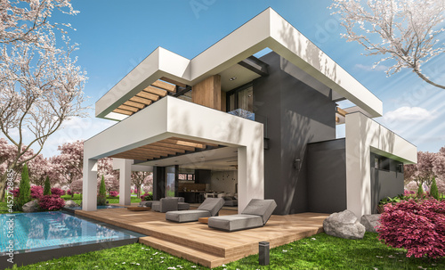 Canvas 3d rendering of modern cozy house with pool and parking for sale or rent in luxurious style and beautiful landscaping on background