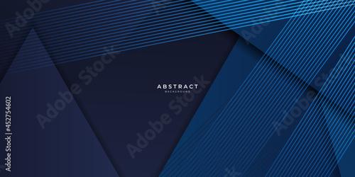Fototapeta Modern simple dark navy blue background with overlap triangle layers