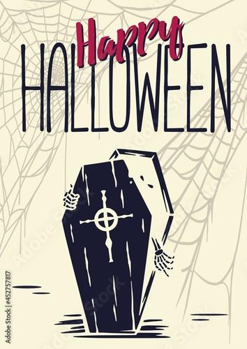 Fotografie, Obraz Halloween skeleton or vampire get out of coffin