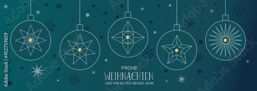 Tela Weihnachtsdekoration mit Christbaumkugeln und deutschem Text auf grünem Hintergr