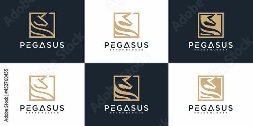 Fototapeta Set of Pegasus logo collection with cool outline concept, nature, park, horse, a