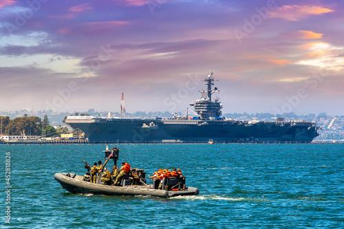 Canvas US Naval Base navy guard boat