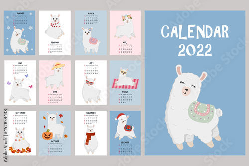 Fototapeta premium Cute calendar with llama character. 2022 calendar with alpaca. Minimalistic calendar for the year for print with kids illustrations. Wall vertical calendar. Vector illustration