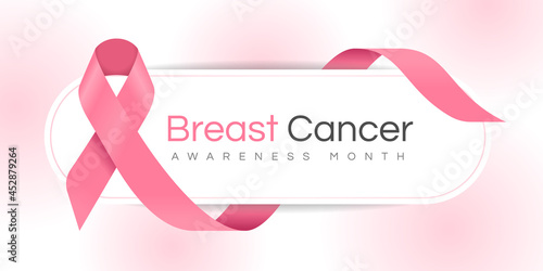 Breast cancer awareness month text on banner with pink ribbon sign waving around Fototapet