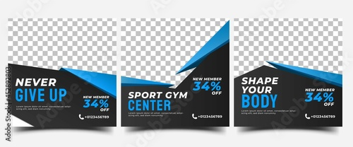 Gym, fitness, and sports social media post template design. Set of Modern square banner design with abstract blue shape. Usable for social media, banner, and website.