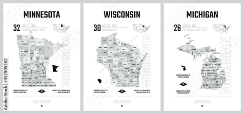 Fotografie, Obraz Highly detailed vector silhouettes of US state maps, Division United States into