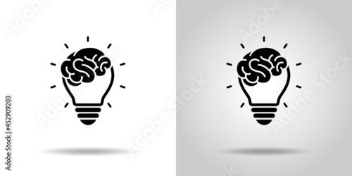 脳みそと電球のアイコン Fotobehang