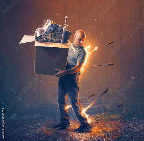 Fotografia, Obraz Man under attack