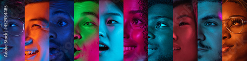 Slika na platnu Cropped portraits of group of people on multicolored background in neon light