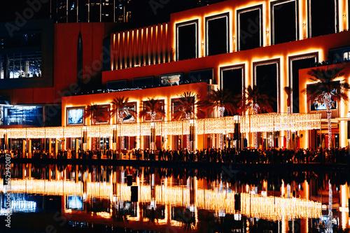 Canvas Night view of Downtown buildings near Burj Khalifa