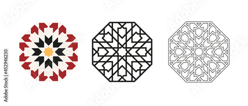 Obraz na plátně Islamic traditional rosette for greetings cards decoration and design isolated on white background