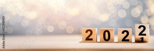 Wooden Blocks With 2022 2021 Number On Table Fototapet