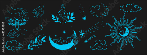 Photo Hand drawn set of celestial bodies and mystic magical elements