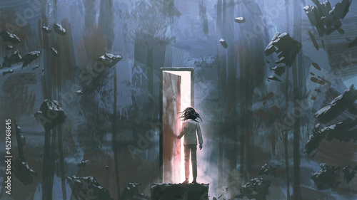 child standing in a dark place and opening a door lit from within, digital art style, illustration painting
