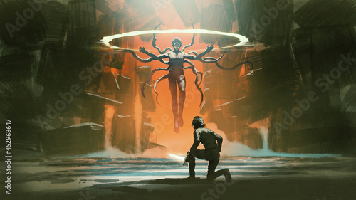 a man with the magic sword facing the human monster floating above the ground, digital art style, illustration painting