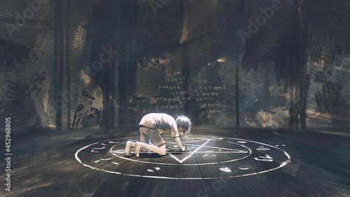 Fotografering A child drawing the evil pantagram a symbol of demon on the ground, digital art