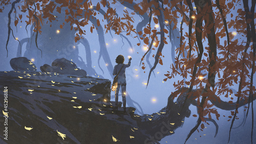 young woman collecting the glowing leaves that falling from the trees, digital art style, illustration painting
