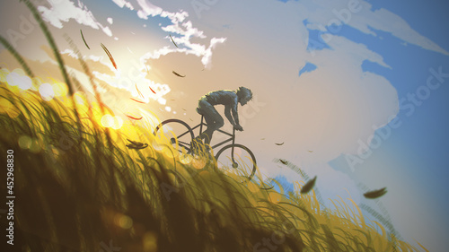 A man riding a bicycle down a hill, digital art style, illustration painting