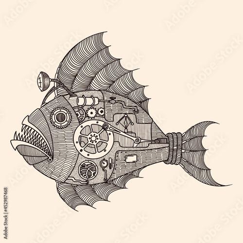 Fototapeta Steampunk fish-shaped submarine with steam engine