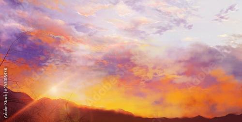 夕焼け空と山の風景イラスト