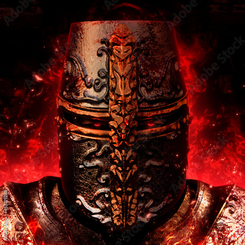 Canvas Print Fantasy 3d render illustration of possessed evil crusader, templar or knight paladin in medieval golden engraved helmet and body armor standing in fire and ashes with glowing red eyes