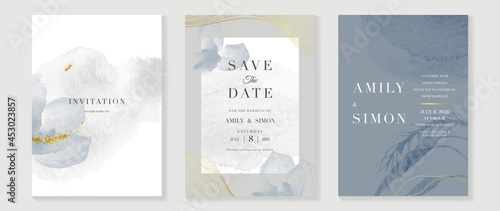 Tela Luxury wedding invitation card background  with golden line art flower and botanical leaves, Organic shapes, Watercolor