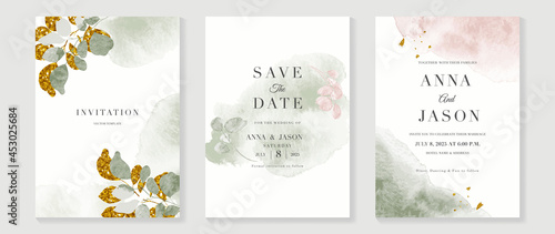 Fotografia, Obraz Luxury wedding invitation card background  with golden line art flower and botanical leaves, Organic shapes, Watercolor