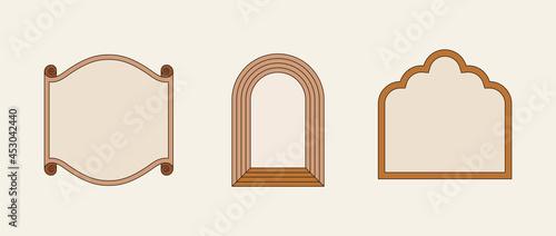 Fotografie, Obraz Vector illustration in simple linear style - design templates - hippie style - f