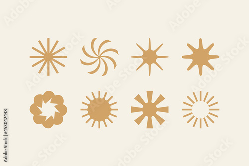 Vector illustration in simple style - design templates -sun and flowers objects #453042448