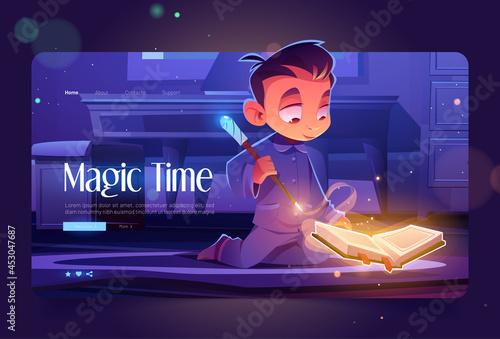 Fotografia Magic time cartoon landing page