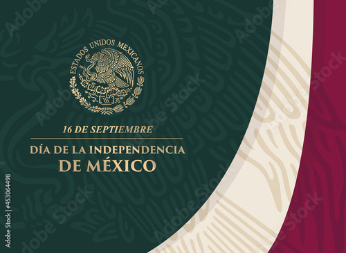 Fotografie, Obraz VECTORIAL BANNER for Mexico Independence Day with shiny golden coat of arms and