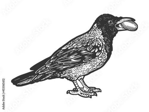 Cuadros en Lienzo Crow with coin in its beak sketch raster