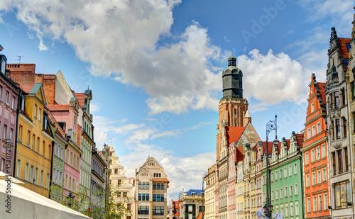 Fotografie, Obraz Wroclaw landmark: historical Rynek square, HDR Image