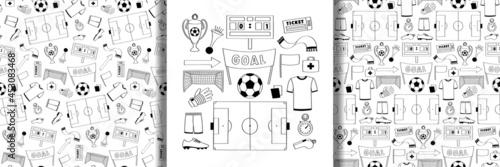 Foto Football objects set and seamless patterns set