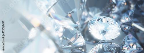 Fotografering Beautiful 3D Rendered Shiny Diamond in Brilliant Cut on White Background, Diamon