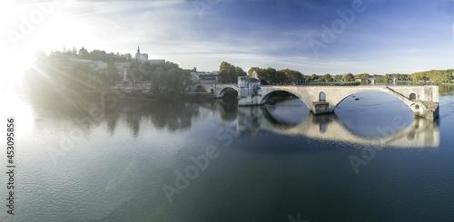 Fototapeta Wide Aerial Panorama of Avignon Pope Palace and Bridge over the Rhone