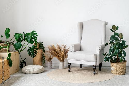 Valokuva Home interior, modern apartment design with decor.