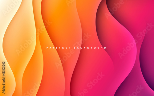 Purple and orange gradient background dynamic wavy light and shadow