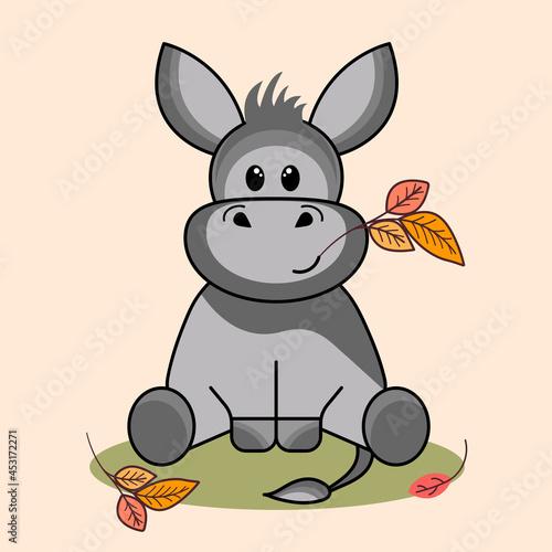 Obraz na plátně Cute gray eeyore donkey on an autumn background with leaves