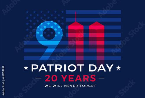 Carta da parati 9 11 Patriot Day 20 Years USA - patriotic background vector