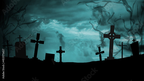 Fotografia Scary and mystical cemetery at night with tombstones, graves and crosses on a moonlight night