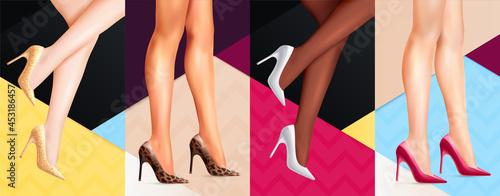 Stampa su Tela Women Legs Shoes Banners