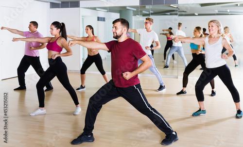 Fotografia, Obraz active men and ladies dancing aerobics at lesson in the dance class