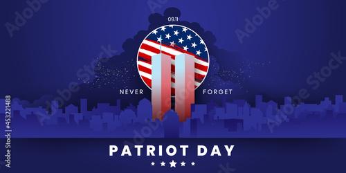Fotografie, Obraz Patriot Day Background, September 11, United States flag, 911 memorial and Never