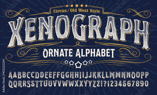 Fotografia Xenograph ornate alphabet: an elegant old west alphabet with gold elements and engraved lines