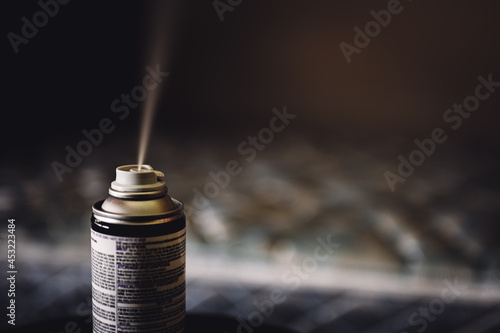 Obraz na plátne Selective focus on insect insecticide aerosol can fogger used to kill bed bugs,