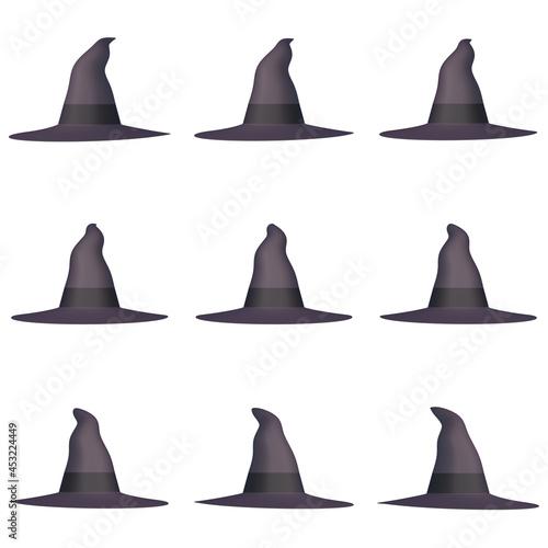 Fotografering ハロウィンのイラスト素材 魔法使いの帽子(1_3) 九点セット カット集